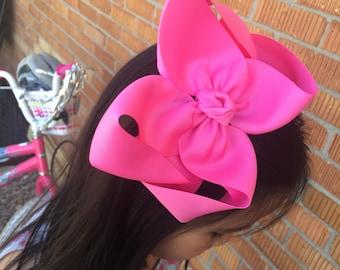 "Pink Bow, Pink Big Bow 6"", pink Hair bow, pink hair clip, Pink Hairbow, Hot Pink Big Bow, Big pink bow"