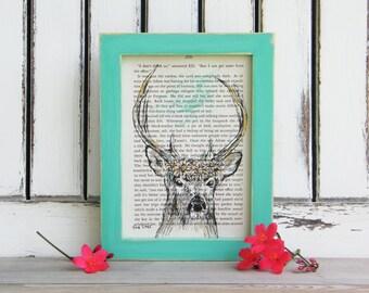 Framed Deer Art, Dictionary Print, Deer Head Print, Book Art, Woodland Animals Decor, Antler Decor, Woodland Nursery