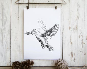 Biblical Wall Art, Dove Print, White Dove, Black And White Printable, Dove With Olive Branch Poster, Jewish Art, Rosh Hashana Simbols