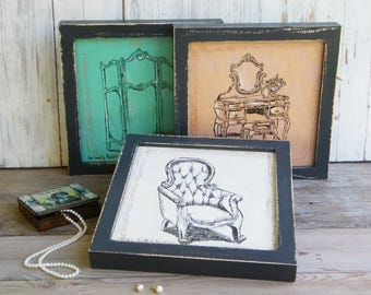 Framed Picture Set, Bedroom Decor, Antique Style Print, Rustic Wood Sign, Country Home Decor, Farmhouse Decor , Gift For Her, Wood Sign