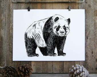 Panda Wall Art, Woodland Animals, Panda Gifts, Black And White Printable, Panda Print, Nature Art, Kids Room Decor, Gift Under 10