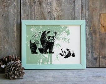 Panda print, Pandas Printable Art, Panda Gift, Woodland Animals, Wild Life Wall Decor, Nature Art Print, Art & collectibles, Teen Room Decor