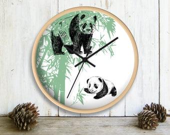 Wall Clock, Panda Family Wall clock, Mama Bear, Panda Gift, Green White Wall Clock, Clock for Kids, Nursery Clock, Gift For Kids
