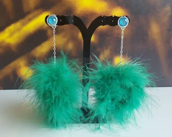 Feather Pom Pom Earrings Fluffy Feather Earrings Green Pom Pom Earrings Buff Ball Earrings Crystal clipon Pom Pom Earrings swarovski crystal