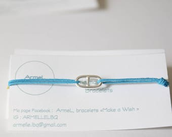 Navy mesh and Royal Blue cord bracelet in 925 Silver