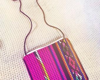Feather fiesta pink shoulder bag.