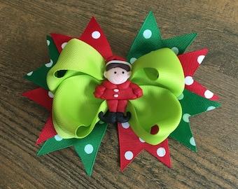 Elf Hair Bow, Christmas Hair Bow