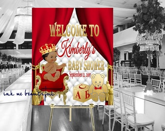 DIGITAL FILE Royal Baby Welcome Poster, Royal Baby Shower Decor, A Prince is On It's Way, Royal Blue, RR-010