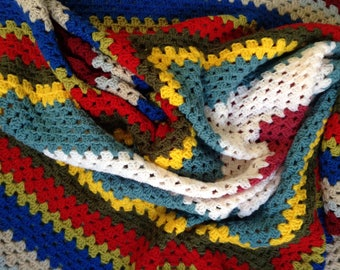 Crochet multicoloured blanket