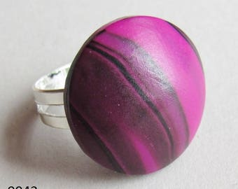 Pink and Black Polymer Clay Ring (#0043)