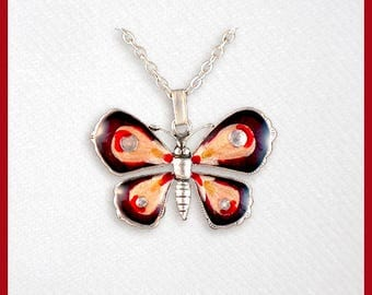 Red, orange butterfly, pendant with chain