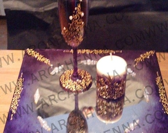 Purple Baroque set - Gold flutes, candle, decorated with Rhinestones and paint mirror
