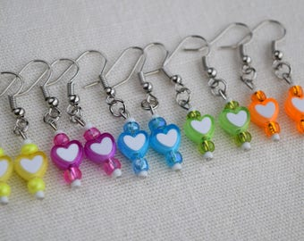 Colorful Beaded Glass Heart Earrings