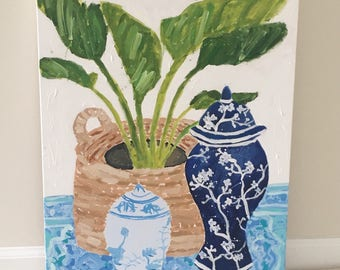 Chinoiserie art, chinoiserie painting, blue and white ginger jar, palm painting, palm tree art, asian temple jar, double happiness jar