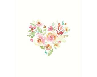 Floral Heart Printable - Pink Nursery Art, Floral Printable Download, Heart Print Pink, Nursery Decor Girl Room Wall Art, Rose Heart Print