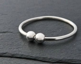 Thin Sterling Silver Fidget Ring (Double Bead) - Petite Silver Spinner Ring, Spinning Bead Ring, Worry Ring - Small Silver Bead Ring