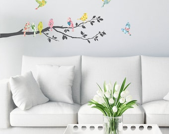 Decowall DA-1706 Floral Birds on Tree Branch Wall Stickers