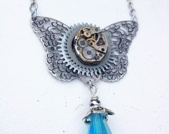 Blue butterfly steampunk watch movement necklace