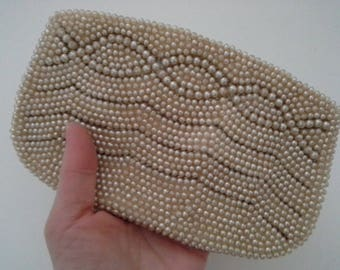 Vintage Beaded Clutch, Pearl Clutch, Small Pearl Purse, Japan Pearl Clutch, Beaded Formal Bag, Wedding Purse, Bridal Purse, Formal Clutch