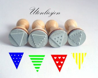4 Stamps, bunting, stripe, dots, hearts, rubber stamp Ø 15 mm