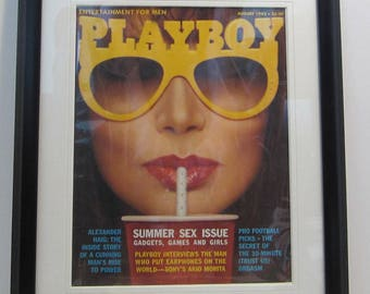 Vintage Playboy Magazine Cover Matted Framed : August 1982 - Vicki McCarty