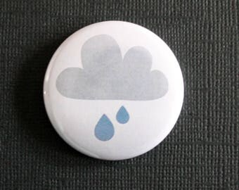 Cloud and rain weather - flat Badge or PIN or magnet