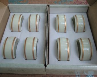 Vintage Gorham Fine Porcelain Napkin Rings Set Of 8 Gold Trim