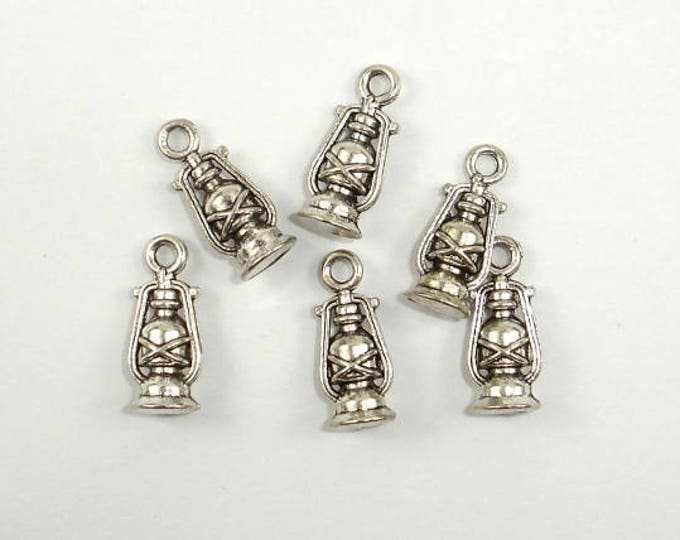 Oil Lamp Charms, Lantern Charms, Zinc Alloy, Antique Silver Tone, 6x16 mm, 20 pcs, Hole 1.8mm (006873087)