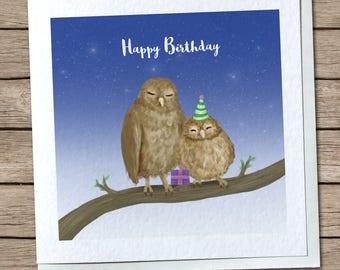 Mummy Owl & Baby Owl - Happy Birthday Greetings Card