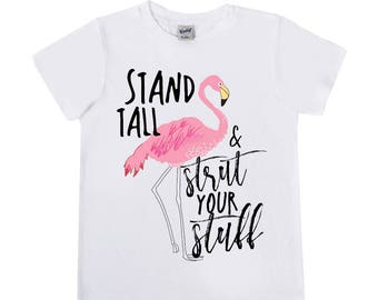 Flamingo Shirts - Stand Tall and Strut Your Stuff - Girls' Clothing - Girls' Shirts - Short and Long Sleeve - Bird Shirts - Paradise