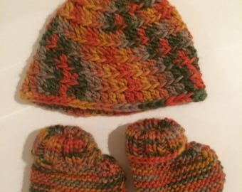 Crochet Baby Pixie Beanie and Knitted Baby Booties Newborn