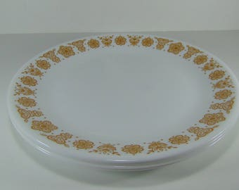 Vintage Corelle Corning Ware Pyrex Gold Butterfly Dinner Plates, Set of 4.