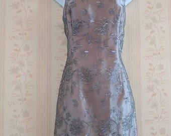 Retro 1990's Embroidered Formal Mini Dress