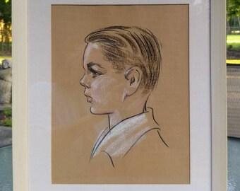 Fabulous 1940s charcoal and pastel portrait painting of a young boy, Vintage portrait of a young boy, antique art portrait of child