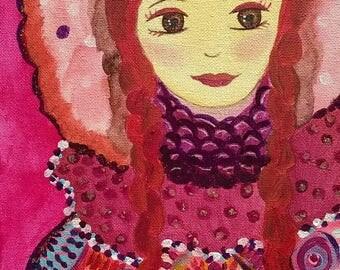 Nasturtium winter art naive young girl in coat-contemporary