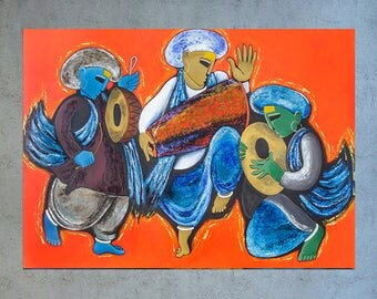 Indian wall art, Indian decor, Canvas painting, Indian Contemporary art, Modern art, Musical instruments, Abstract Wall art, Large paintings
