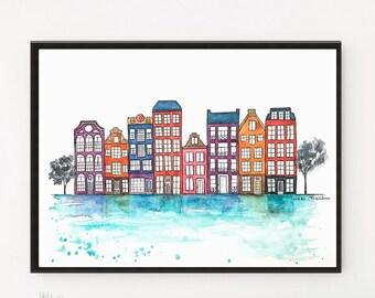 Amsterdam houses, Art Print, Amsterdam print, Illustration, Travel Poster, City poster, Architecture, City art, Netherlands, Printable art
