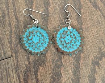 mandala earrings-Beach earrings-summer earrings- lightweight earrings-polymer clay earrings- handmade earrings- blue earrings-pastel earring