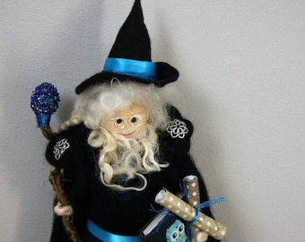 Professor Blue. Wizard. Mage. Magician. Warlock. Woodland Creations. Pagan Decorations. Wool Felt Wizard. Magic. Doll. Spells.