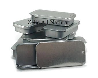 Ten (10) Empty Rectangle Lip Balm Tins, Great for homemade Salves, Lip balms, Solid Perfumes, Storage for Small Items.