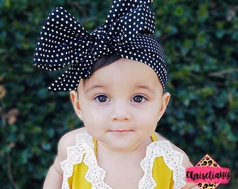 Black Polka Dot Headwrap, Fabric Headwrap, Baby Headwrap, Toddler Headwrap, Bow Headwrap, black headwrap, Newborn Headwrap