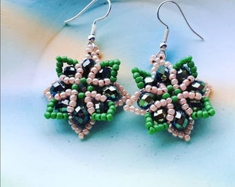 Special Baroque Earrings moss green and peach unique handmade earrings