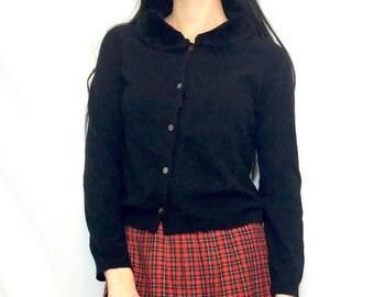 SUMMER SALE Vintage 90s Lolita Fuzzy Collar Button Down Long Sleeve Cardigan Sweater