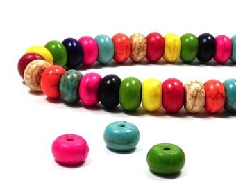 50 perles howlite abaques multicolores 10 mm