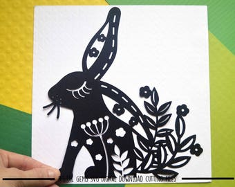 Rabbit paper cut svg / dxf / eps / files and pdf / png printable templates for hand cutting. Digital download. Commercial use ok.
