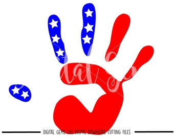 American Flag Hand svg / dxf / eps / png files. Digital download. Compatible with Cricut and Silhouette machines. Small commercial use ok.