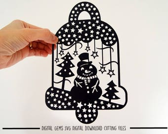 Snowman bell paper cut svg / dxf / eps / files and pdf / png printable templates for hand cutting. Digital download. Small commercial use ok
