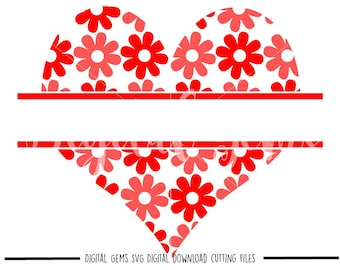 Heart, Split heart svg / dxf / eps / png files. Digital download. Compatible with Cricut and Silhouette machines. Small commercial use ok.