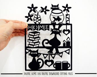 Cats at home paper cut svg / dxf / eps / files, and pdf / png printable templates for hand cutting. Digital download. Commercial use ok.
