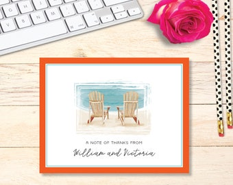 FOLDED Beach Thank you Notes - Adirondack Chairs - PROFESSIONAL SET of cards
